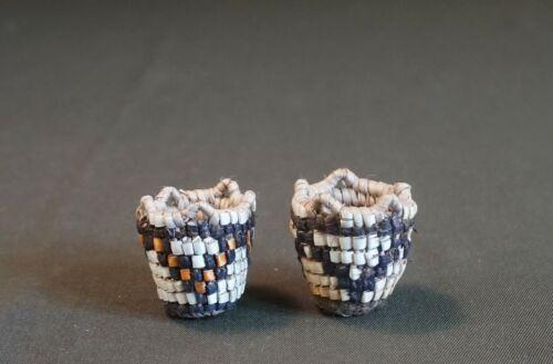 Pair of Miniature Northwest Klickitat Baskets by Master Weaver Elsie Thomas