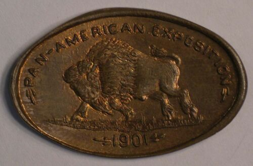 1901 Pan American Expo BUFFALO elongated INDIAN cent RED COLOR coin #6427