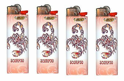Bic Scorpio Horoscope Lighters 4 Pack Of Exact Design As Pictured Brand New