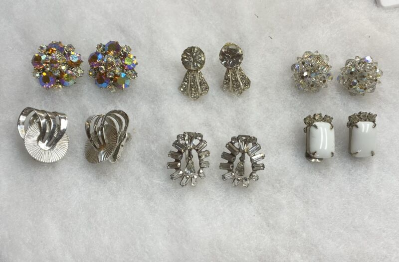 Vintage Bling Earring Lot x 6 used