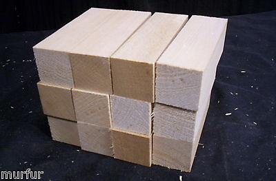 12 Pc Kiln Dry Basswood  1 1/4  x  1 1/4  x  4  Inch Carving