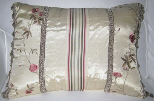 CROSCILL ROSE GARDEN BEAUDOIX PILLOW W/ FRINGE - DISCONTINUED PATTERN