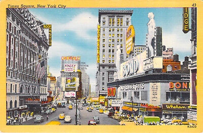 Times Square New York City NY Old Cars Nude Statues Bond Store Linen Unused PC