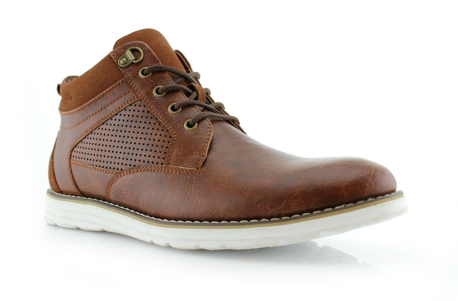 Men's Casual Mid Fashion Perforated Leather Suede Sneaker Ru