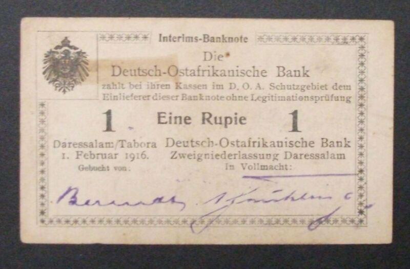German East Africa Rupee, 1916 Tabora Issue, P26, U3 w/X