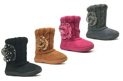 Cute Toddler Girls (New Kids Boots Toddler Girls Cute Sequins Flower Fur Suede Knitting)
