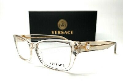 Versace VE3284B 5288 Transparent Beige Women's Rectangle Eyeglasses Frame 54mm