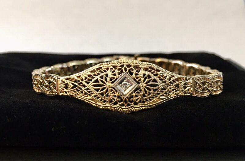ANTIQUE 14k Yellow GOLD ART DECO Victorian DIAMOND FILIGREE BRACELET FANCY/ Vntg