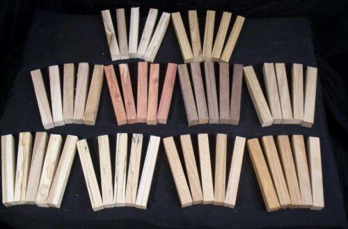 "50 Piece 10 Species Hardwood Pen Blanks 3/4 x 3/4 x 5 1/2"" Lathe Turning Lumber"