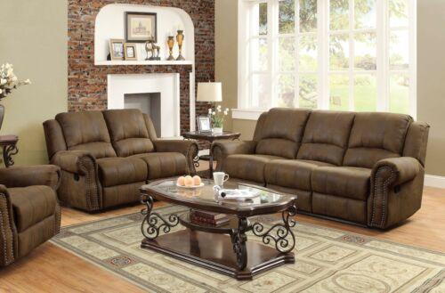 Brown Coated Microfiber Nailhead Recliner Reclining Sofa Love Seat Furniture Set