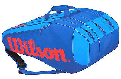 Wilson BURN TEAM RUSH 12er - große Tennistasche blau/rot  - Rucksackfunktion