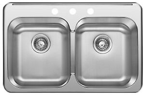 "SS Drop in Double, KITCHEN SINK 31 ¼""x 20 1/2""x 8"" for $95!"