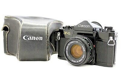 Canon F-1 35mm SLR Film Camera with Case and New FD 50mm F/1.8 from Japan