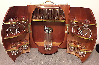 Vintage Mid Century Half Barrel Wood & Brass Liquor Wall Bar Set with Glasses