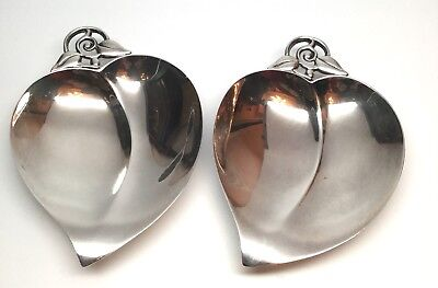 Tiffany & Co Sterling Silver Set of Heart Shaped Dishes