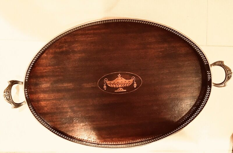 Vintage Mahogany & Inlaid Satinwood Oval Tray w/ Handles
