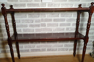 mahogany vintage carved wooden two tier stand shelf rack planter