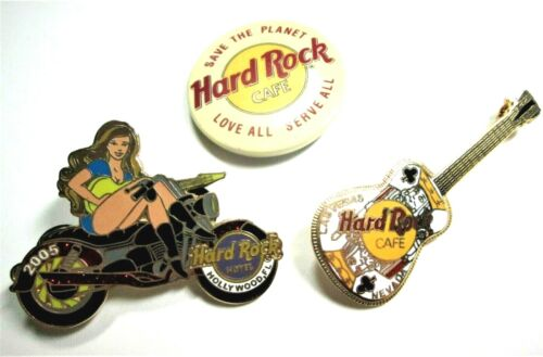 Hard Rock Cafe, Three Pins Lot,  Guitar, Girl on a motorcycle 2005, and Button.