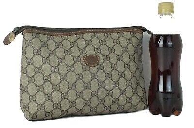 Auth GUCCI GG Beige Canvas & Leather Accessories Bag Hand Bag Clutch Bag Vintage