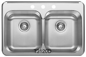 "SS Drop in Double, KITCHEN SINK 31 ¼""x 20 1/2""x 8"" for $89!"