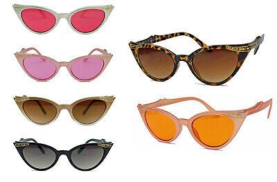 Damen Sonnenbrille Cateye Brille Vintage Stil m Strass Glitzersteine Bling Bling