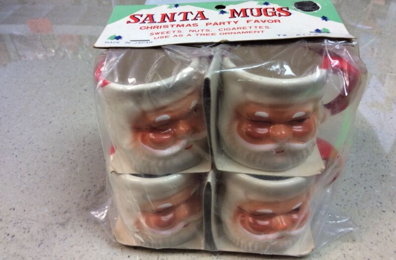 4 Vintage Christmas Mini Ceramic Winking Santa Mugs *Sealed in Package* - Japan