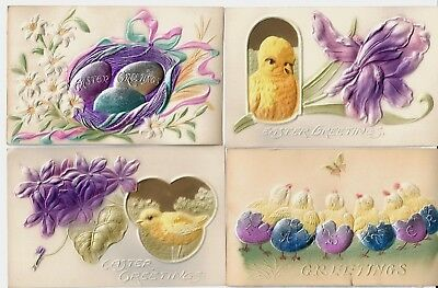 4 Vintage Easter Postcards w/Chicks, Eggs, Flowers  Thickly Embossed EXC unused