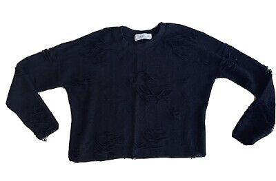 IRO - French Designer. Black Distressed Sweatshirt Cotton. UK 8 - 10 Long Sleeve