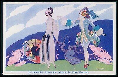 sg Brunellesci Art Deco Paris Fashion Haute couture advertising c1920s postcard