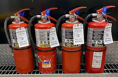 Fire Extinguisher 10lb Abc Scratch Dirty Set Of 4