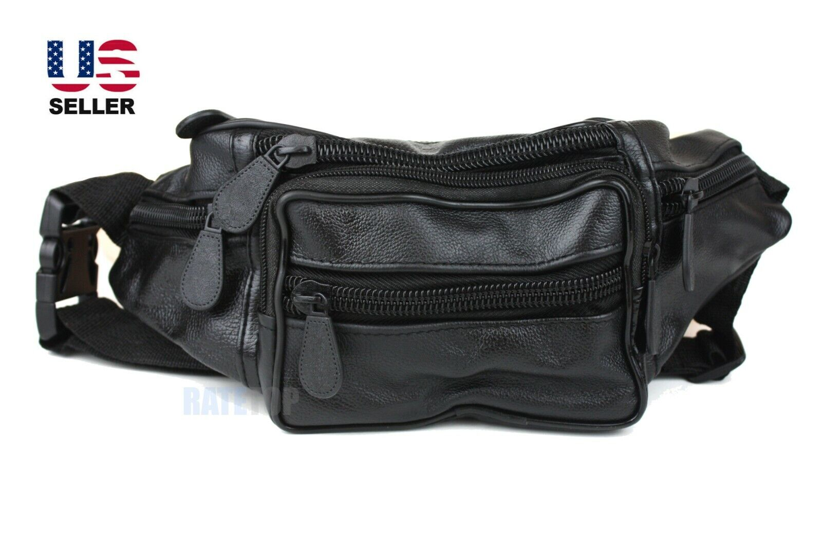 Fanny Pack Synthetic Leather Waist Belt Bag Hip Pouch Pockets Travel Sport Mens Bags