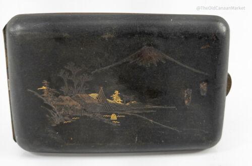 Antique Japanese Damascened Gold Silver Inlaid Komei Komai Cigarette Box