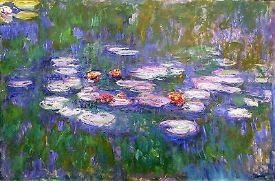 "Water Lilies by Claude Monet, 8"" x12"", Giclee Canvas Print"