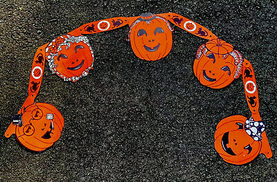 1950's Halloween Die Cut Garland Banner Decoration Streamer Jack O Lanterns 4ft