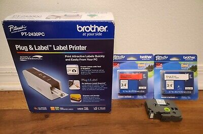 Brother Plug Label Label Portable Thermal Printer Pt-2430pc Complete W Tape