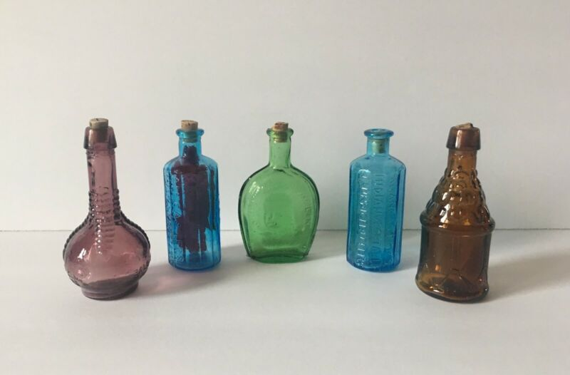 Set of 5 Vintage Miniature Colored Glass Bitters Bottles-Made in Taiwan