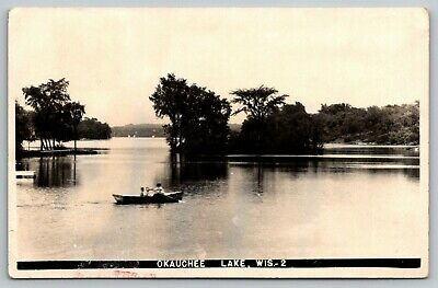 Okauchee Lake Wisconsin~Big Brother & Two Little Ones in Rowboat~1943 RPPC