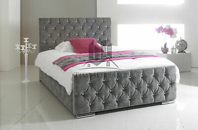 Diamond Upholstered Fabric Bed Frame Chenille Leather Double King Size Mattress