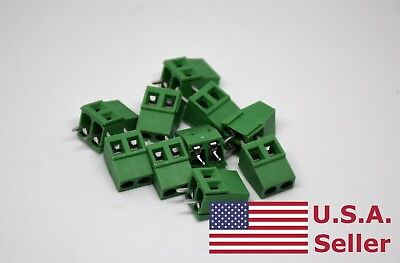 10pcs 5mm Pitch Universal 2 Pin 2 Poles Pcb Screw Terminal Block Connector