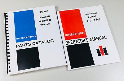 Farmall A Av Tractor Parts Catalog Owners Operators Manual Set International