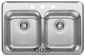 """SS Drop in Double, KITCHEN SINK 31 ¼""""x 20 1/2""""x 8"""" for $95!"""