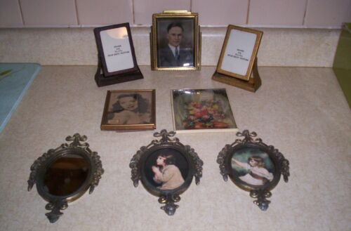 8 SMALL VINTAGE METAL PICTURE FRAMES 2 ARE  FRANLEN CLINTON IA.