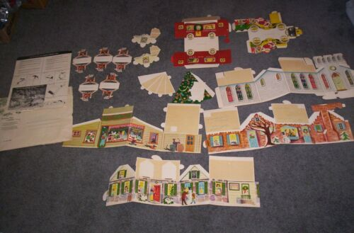 VINTAGE PUTZ PAPER CHRISTMAS VILLAGE BY NORCROSS  CHURCH HOUSES STORE  RARE!!