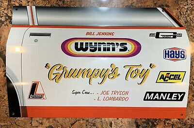 WOW!Curved Grumpy's Toy RACE CAR DRAG RACING Door Style Sign DRAGSTER Pro Stock Style Race Car