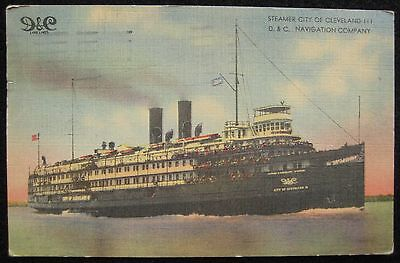 Steamer City of Cleveland D&C Navigation Company Linen Postcard PM Buffalo NY](Party City Buffalo)