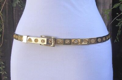 (Vtg. Skinny Gold Tone Metal Cut Out Mesh Panel Style Belt  with Buckle )