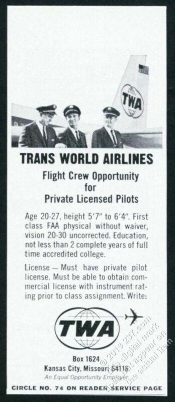 1966 TWA airlines 3 pilots photo pilot recruitment vintage print ad