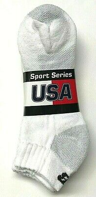 3 Pair Men's White NEW BALANCE Low Cut Full Cushion Sport Socks Size 10-13.USA. New Balance Sport Socks