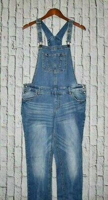 Vintage Overalls & Jumpsuits Mossimo Womens Bib Overalls Medium Blue Denim Tapered Stretch Slight Distressed $20.00 AT vintagedancer.com
