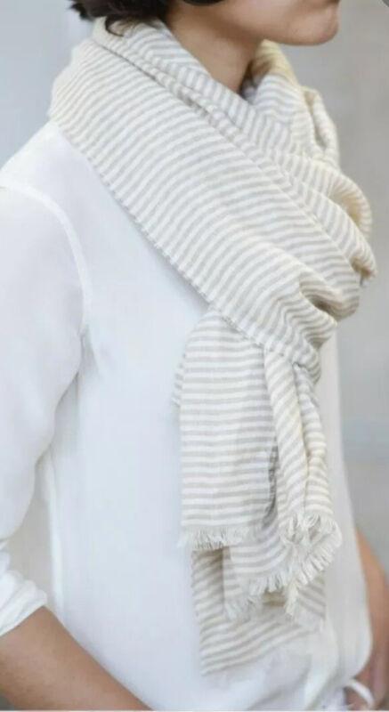 Everlane Tan + Cream Striped Silk + Linen Scarf, Wrap Throw, Fringe, Lightweight